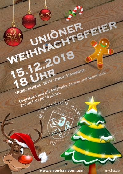 Weihnachtsfeier Plakat.Weihnachtsfeier 2018 Mtv Union Hamborn 02 E V
